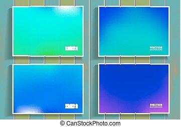 set of blue flares on wooden background