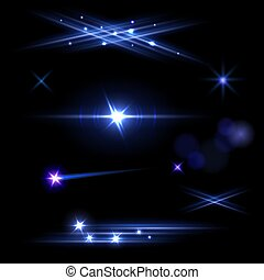 Set of blue flashes, flares and blurs isolated on black background. Vector illustration.