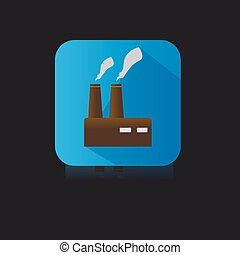 Set of Blue Flat Icon of Factory
