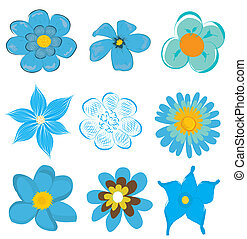 set of blue flower graphics vector