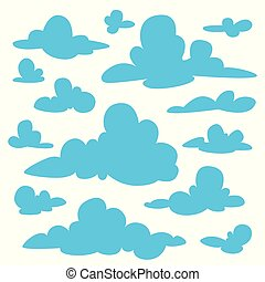 Set of blue fluffy clouds silhouettes on white background. Vector illustration in flat cartoon style.