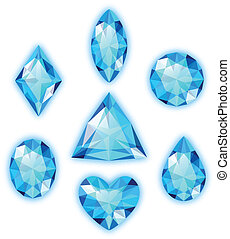 Set of blue gems isolated on white - Set of colored gems ...