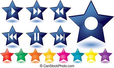Blue glass stars as music buttons
