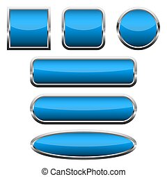 Set of blue glossy buttons. Vector illustration.