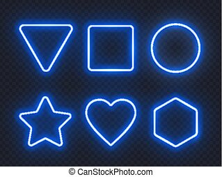 Set of blue glowing neon frames on dark background.