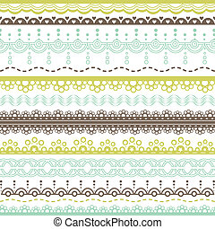 lace borders - set of blue, green and brown lace borders