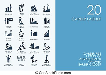 Set of BLUE HAMSTER Library career ladder icons - BLUE...