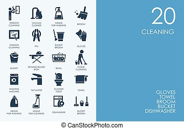 Set of BLUE HAMSTER Library cleaning icons - BLUE HAMSTER...