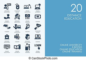 Set of BLUE HAMSTER Library distance learning icons - BLUE...