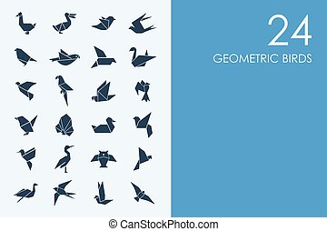 Set of BLUE HAMSTER Library geometric birds icons