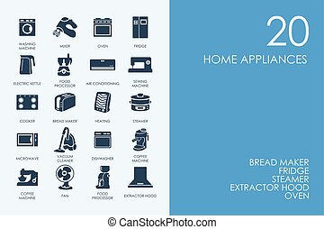 Set of BLUE HAMSTER Library home appliances icons