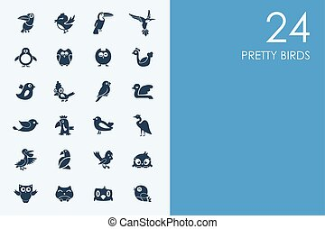 Set of BLUE HAMSTER Library pretty birds icons