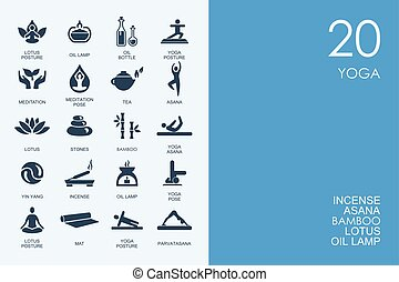 Set of BLUE HAMSTER Library yoga icons