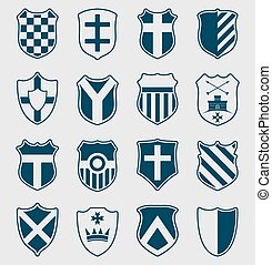 Set of blue heraldic shields