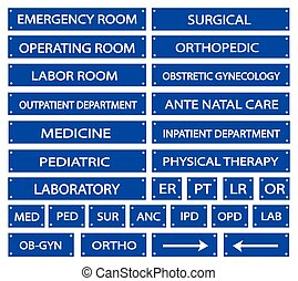 Illustration Collection of Blue Hospital Signs and Medical Abbreviations of Different Departments at A Hospital.