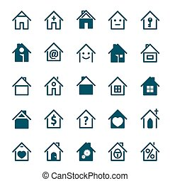 Set of blue house icon. Vector Illustration.