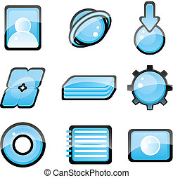 Set of blue icon