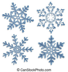 set of blue icy snowflakes on white background