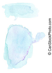 Set of Blue ink spots, watercolor tag stain with watercolour paint stroke