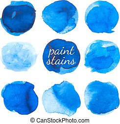 Set of blue ink stains isolated on white. Vector...