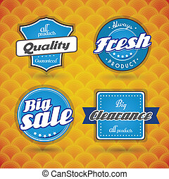Set of blue labels on orange abstract background.