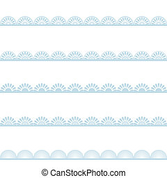 Set of blue lace borders