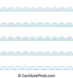 Set of blue lace borders