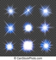 set of blue light flashes over transparent background. vector illustration