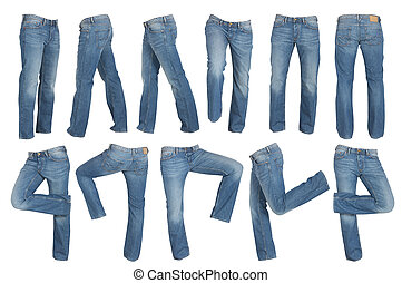 set of blue male jeans isolated