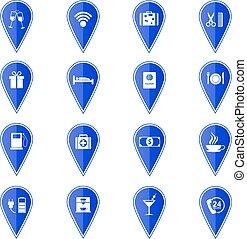 Set of blue map pointers with hotel services icons. Vector illustration