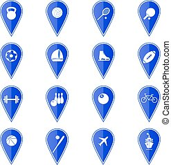 Set of blue map pointers with sport icons. Vector illustration