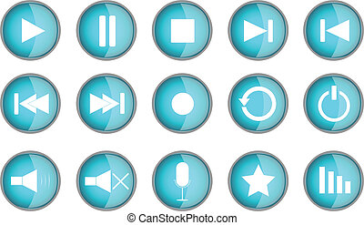 Set of blue multimedia buttons