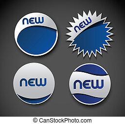 sticker design element - Set of blue new sale sticker design...