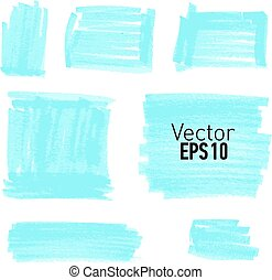 Set of blue paint stains for your design.