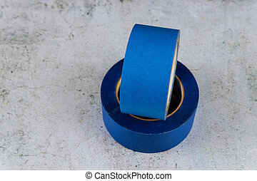 Set of blue painter plastic duct tape