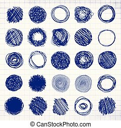 Set Of Blue Pencil Hand Drawn Doodle Borders on Notebook Sheet