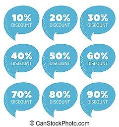 Set of blue percent discount speech bubble, sale vector illustration