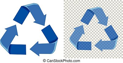 Set of blue recycling icons