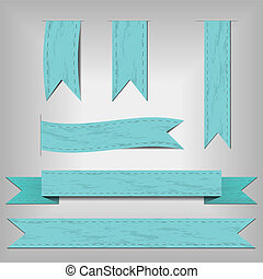 set of blue ribbons