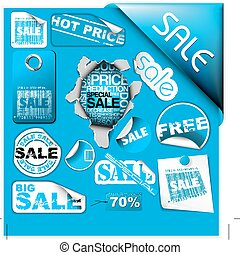 Set of blue sale tickets, labels, stamps ...