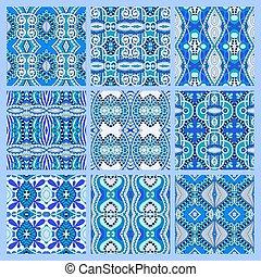 set of blue seamless colored vintage geometric pattern,...