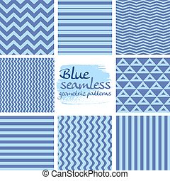 Set of blue seamless geometric patterns on white 1
