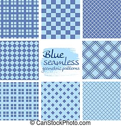 Set of blue seamless geometric patterns in square