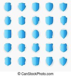 Set of blue shields isolated on white background.