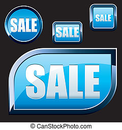 Set of blue shiny sale buttons, vector illustration