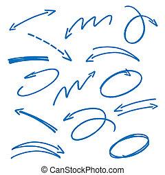 Set of blue sketch arrows