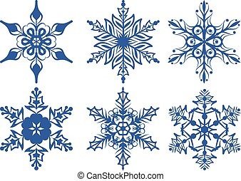 Set of blue snowflakes. Isolated