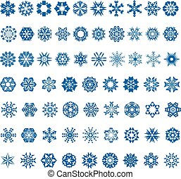set of blue snowflakes on a white background