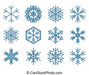 set of blue snowflakes - vector