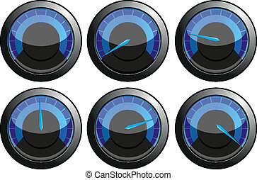 Set of blue speedometers for car or power or termometers, vector illustration